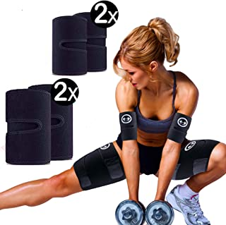 1H1K Sports Arm and Thigh Trimmers for Weight Loss (4 Pack Set) | Arm and Thigh Slimmer Bands for Women and Men | Sweat Fa...