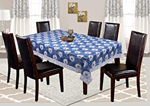 Kuber Industries Flower Design PVC 6 Seater Dining Table Cover - Blue, 60 * 90 Inches - CTKTC21835, Standard