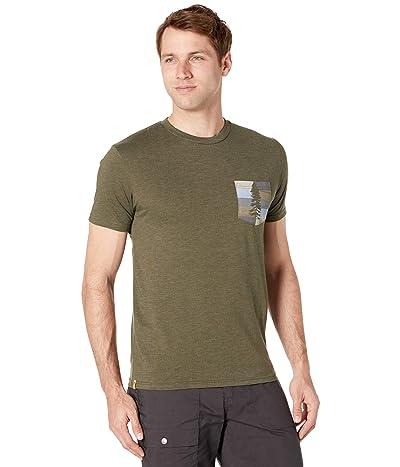tentree Spruce Stripe Pocket T-Shirt (Olive Night Green Heather) Men