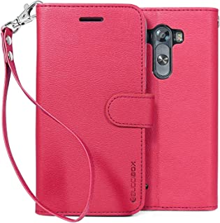 LG G3 Case, BUDDIBOX [Wrist Strap] Premium PU Leather Wallet Case with [Kickstand] Card Holder and ID Slot for LG G3, (Pink)