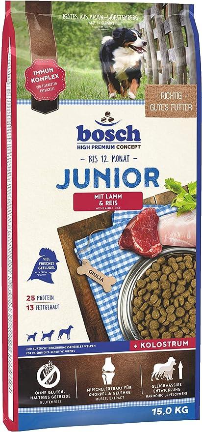 Bosch HPC Junior con cordero y arroz | Alimento seco para perros para criar cachorros nutricionalmente sensibles, 1 x 15 kg