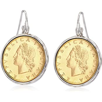 FANCIME Yellow Gold Plated Statement Metal Coin Drop Dangle Earrings Length Hypoallergenic Fashion Jewelry for Teens Girls Women 1.4