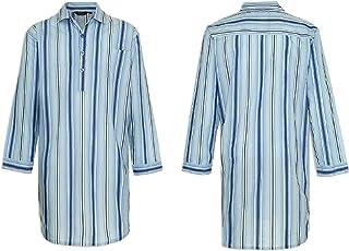 Mens British Traditional Stripe Nightshirt Sleepwear Lounge Wear Polycotton Summer Fantastic Striped Design Cool 4 Button ...