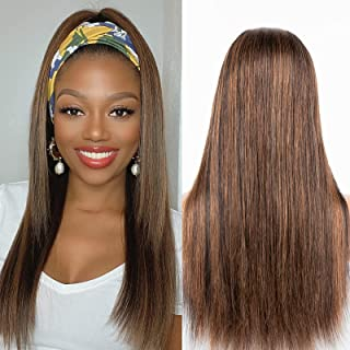 Luvme Highlight Straight Headband Wig Mixed Color Human Hair Wig For Women No Gule No Lace Front Wig Easily Install 18 Inch