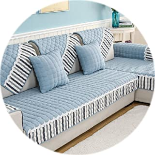 Secret-shop Four Seasons Available Sofa Cover Cotton Printed Sofa Towel Universal Non-Slip Sofa Cover 1/2/3/4 Set Sofa Cushion,Blue,70x150cm