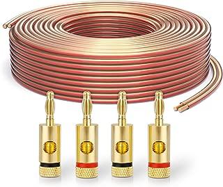 Blanco deleyCON 25m Cable de Altavoz 2X 1,5mm/² Aluminio Recubierto de Cobre CCA Marca de Polaridad 2x48x0,20mm Trenza BauPVO//CPR