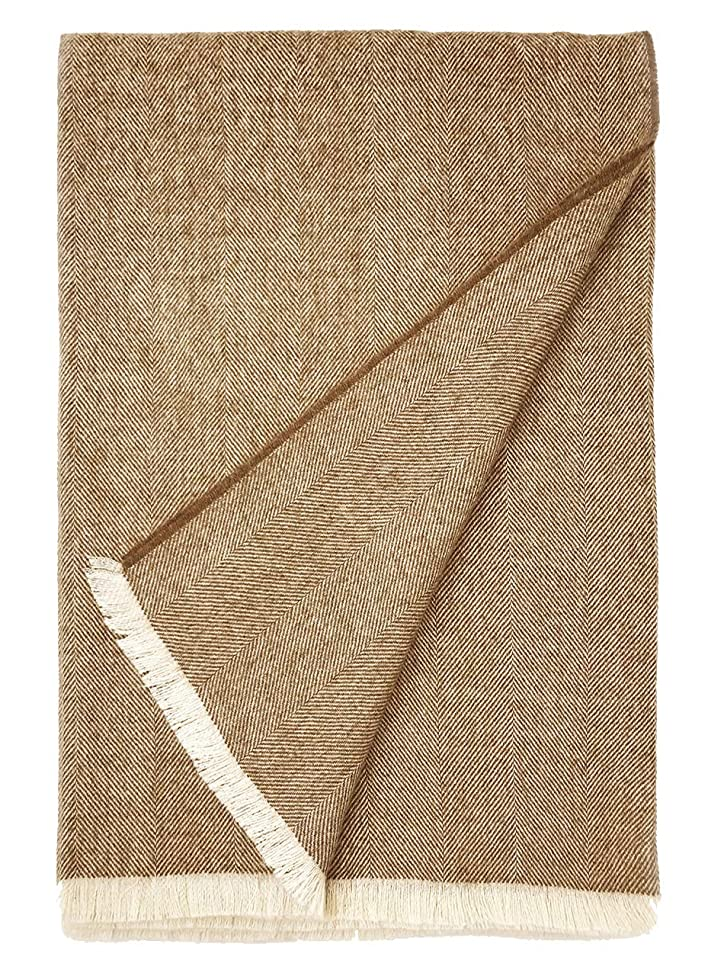 Alpaca Home 100% Pure Premium Alpaca Wool Throw Blanket ? Herringbone Weave ? Ethically Sourced | Hypoallergenic - Cozier, Softer & Warmer Than Wool | 71 in. X 51 in. | Limited Edition (Wheat)