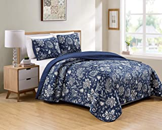 Better Home Style 3 Piece Navy Dark Blue Luxury Lush Soft Floral Flowers Paisley Printed Design Quilt Coverlet Bedspread Oversized Bed Cover Set # 8842 (King/Cal-King)