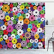 Ambesonne Flower Shower Curtain, Floral Vivid Pattern with Colorful Flowers Daisies Wildflowers Cheerful Natural, Cloth Fabric Bathroom Decor Set with Hooks, 70 Long, Purple Black