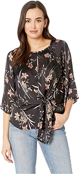 Bell Sleeve Tie Front Floral Soiree Keyhole Blouse
