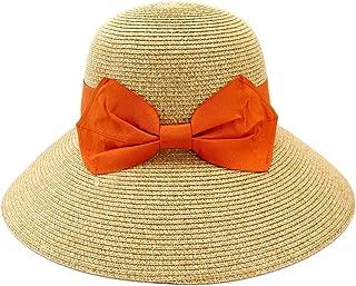 PengCheng Pang Sun Hat Cute Hat Sun Handmade Straw Hat Women Hat Beach Big Hat Summer Hat Casual (Color : Orange, Size : 56-58CM)