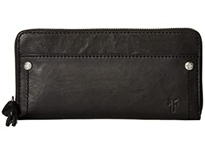 Frye Demi Zip Wallet (Black Antique Soft Vintage) Wallet Handbags
