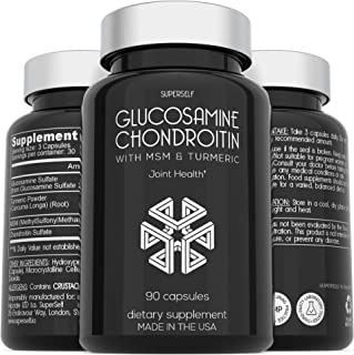 Glucosamine Chondroitin MSM with Turmeric - High Strength Joint Support Supplement for Adults Men & Women - 90 Capsules - ...