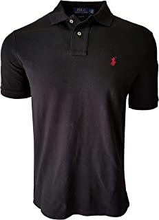Classic Fit Mesh Polo Shirt (Small, Black (Red Pony))