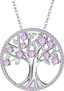 Clearine Women's 925 Sterling Silver CZ Life of Tree Birthstone Pendant Necklace
