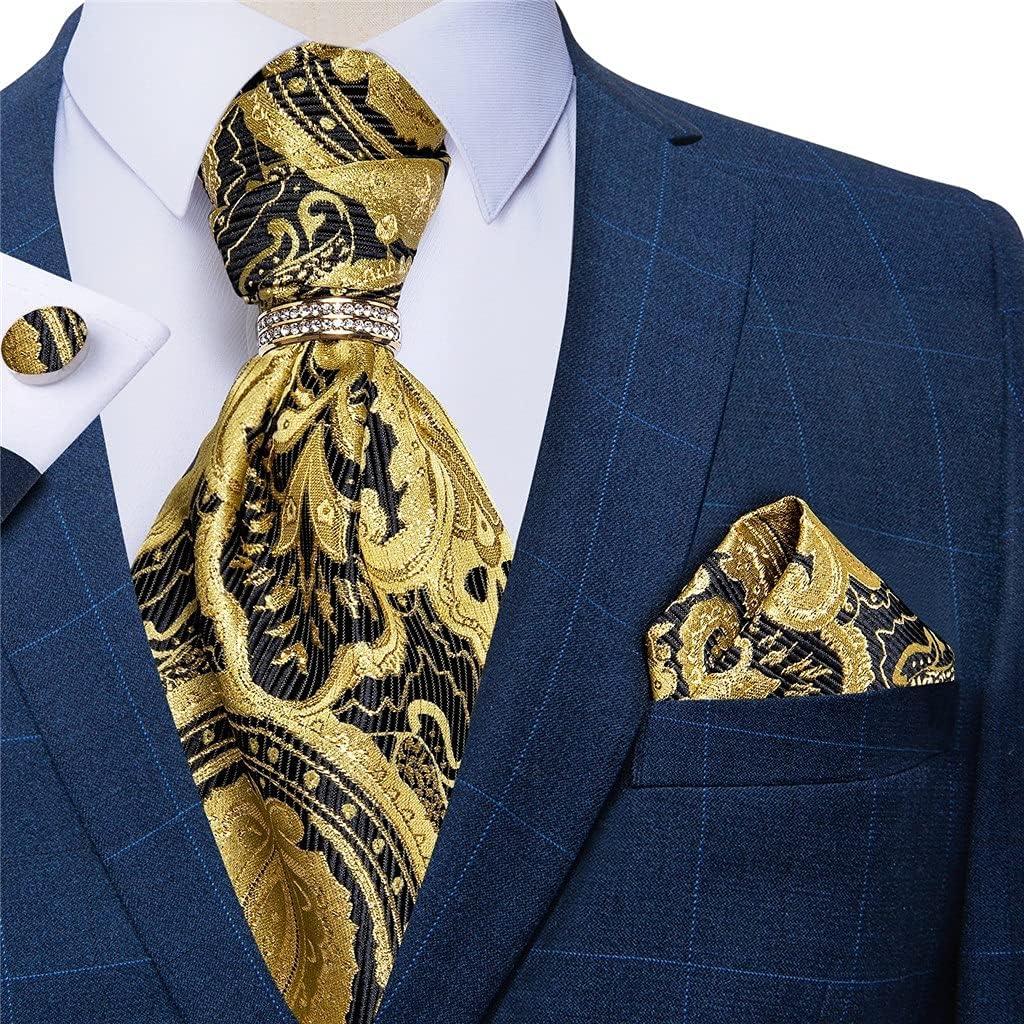 Walnut Men Vintage Yellow Black Wedding Formal Cravat Scrunch Self British Style Gentleman Silk Tie Set (Color : Gold Ring, Size : One Size)
