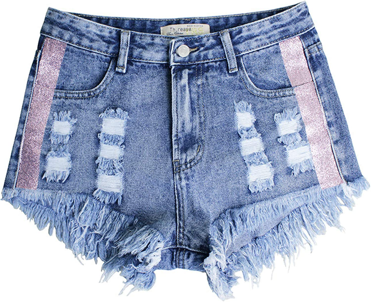 Ladies Ripped Denim Shorts Fashion Torn Edge Double Pockets Tight-Fitting
