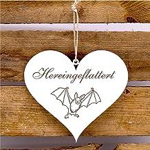 Bord hart ingevlattert - deurbordje met motief vleermuis