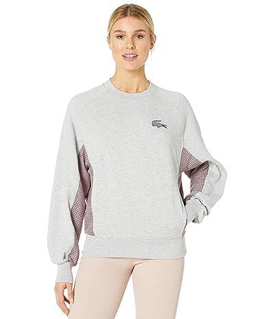 Lacoste Oversized Cotton Poly Fleece Sweatshirt w/ Tattersall Trim (Silver Chine) Women