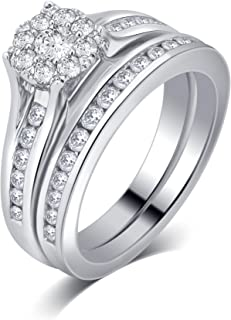 1.00 Cttw Diamond Bridal Ring Set in 10K White Gold