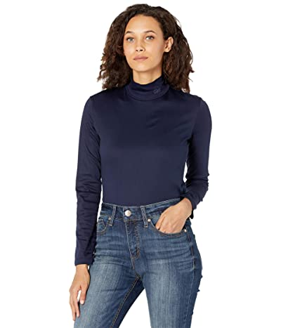 Lacoste Long Sleeve Solid Color Turtleneck Tee (Navy/Blue) Women
