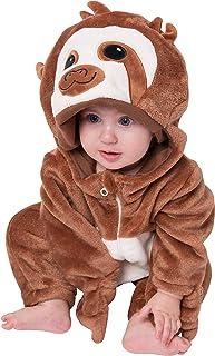 corimori corimori Baby Onesie Henry das Faultier Süßes Tier Plüsch-Kostüm Strampler Dunkel-Braun Beige 60-70 cm