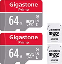 Gigastone 64GB 2-Pack Micro SD Card with Adapter, U1 C10 Class 10 90MB/s, Full HD available, Micro SDXC UHS-I Memory Card