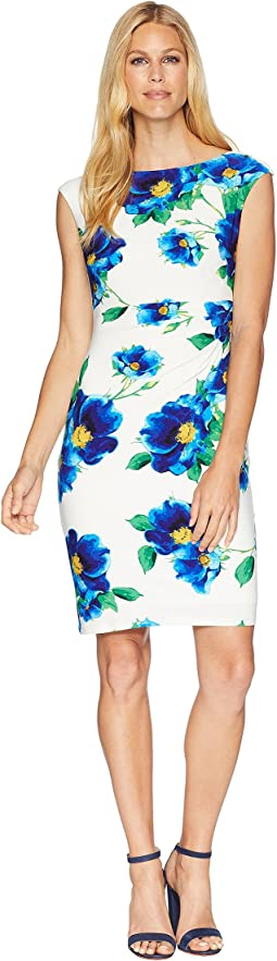 B585 Chrome Floral Novellina Cap Sleeve Day Dress