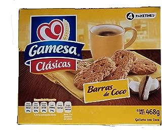 Gamesa Barras de Coco Cookies. Delicious Mexican Coconut Crisp Cookies. Great with Tea,Coffee or Milk. 1 box (4 packages). 468 Grams.