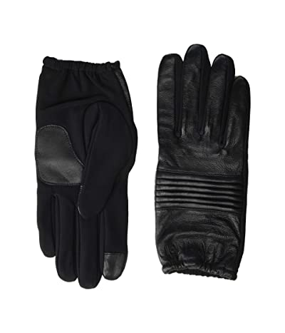 Calvin Klein Quilted Panel Leather Touch Gloves (Black) Over-Mits Gloves