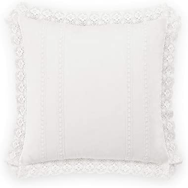 Laura Ashley Home Annabella Bedding Collection, Premium Quality 2 Piece Decorative Pillow Sham Set for Bedroom Living Room and Home Décor, European, White