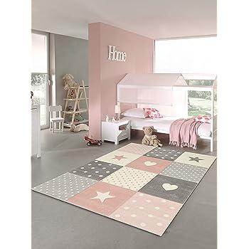 120x170 cm VIMODA Tapis pour Enfants Tapis Rose Chambre denfants Babyteppich avec Coeur /Étoile Lune Rose
