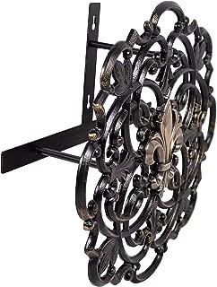 BIRDROCK HOME Wall Mounted Hose Reel – Black Cast Aluminum Holder for Garden – Outdoor Decorative Organizer – Fleur-de-lis and Scroll Design