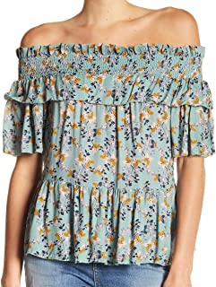 William Rast Womens Arabella Floral Print Off-The-Shoulder Blouse