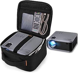 CURMIO Projector Case, Mini Projector Carrying Bag Compatible with DR.J Professional and QKK Mini Projector, Black