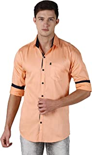 LEVIZO 100% Cotton Plain Solid Collar Casual Shirt Full Sleeves for Men