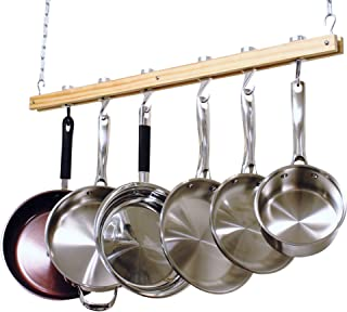 Cooks Standard NC-00269 Single Bar, 36-Inch Ceiling Mounted Wooden Pot Rack, Brown (Renewed)