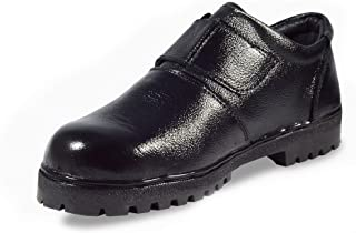 MEN'S BLACK GENUINE LEATHER STEEL TOE SAFETY SHOES(UNISEX) BY RIGAU (leather, 3)