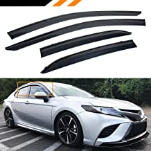 Cuztom Tuning Fits for 2018 2019 Toyota Camry LE SE XLE XSE Clip-on Type Sport Black Trim Window Visor Rain Guard Deflector
