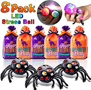 8 Pack Spooky Glow Stress Balls, Halloween Squishy Ball Gift with LED Lights Black Spider Mesh Grape Squeeze Ball Light Up Toys Halloween Party Game Toys for Kids (with 8 Trick or Treat Goodie Bags)