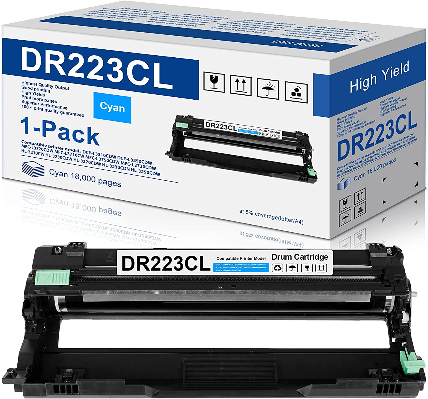 1-Pack Cyan Compatible DR223CL Drum Unit Replacement for Brother DR-223CL Drum Works with Brother MFC-l3770CDW MFC-l3750CDW MFC-l3710CW HL-l3290CDW HL-l3270CDW HL-l3210CDW HL-L3230CDW Printer