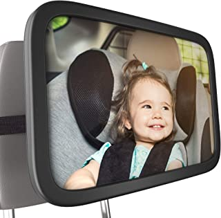 Bambinii Baby Mirror For Car- 360° Adjustable, Rear Facing Car Seat Mirror For Crystal Clear View Of Baby For Safe Driving - Shatterproof, Convex Backseat Safety Monitor Mirror For Newborns & Toddlers