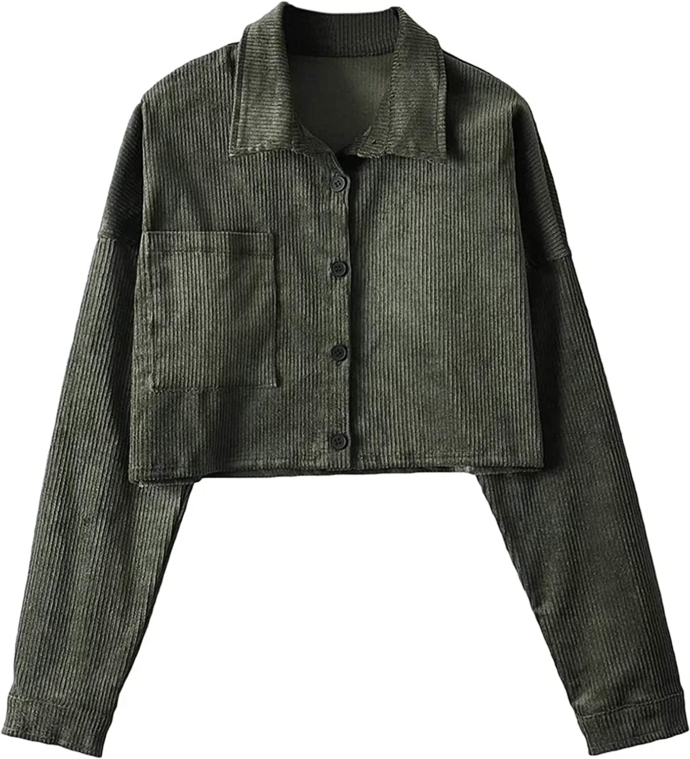 UANEO Womens Corduroy Button Down Long Sleeve Casual Cropped Jackets Shackets(Green-S)