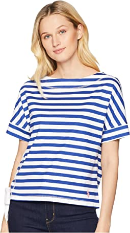 Boat Neck Short Sleeve Striped Lace-Up Tee Shirt