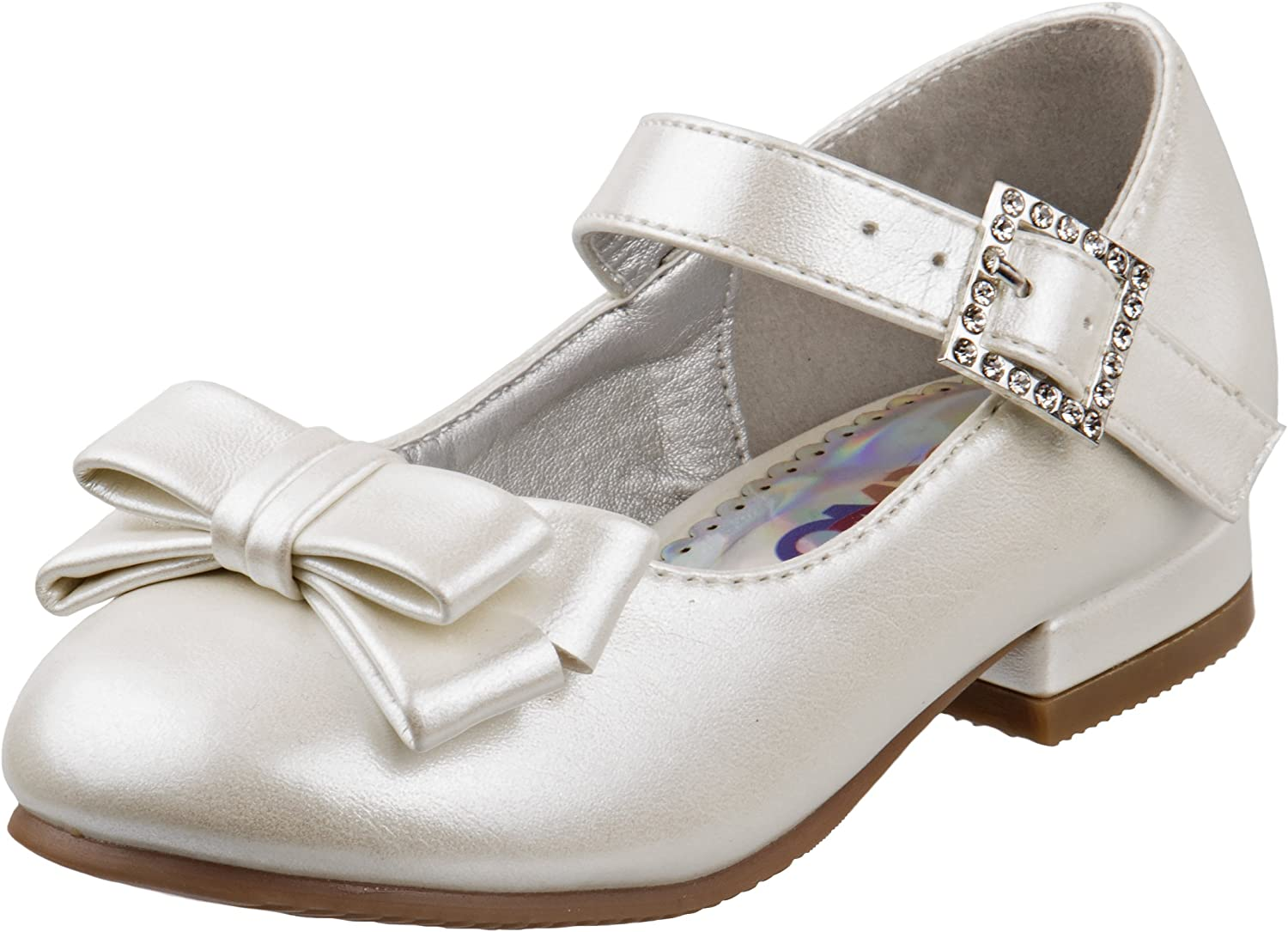 Josmo Girls Low Heel Dress Shoes with Rhinestone Buckle and Flower (Toddler, Little Kid)