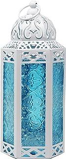 Vela Lanterns White Decorative Candle Lanterns, Medium, Blue Glass