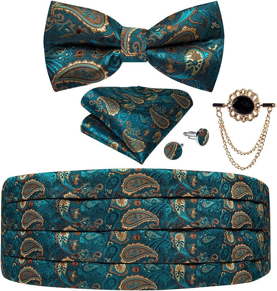 WPYYI Men's Tuxedo Cummerbund Silk Bow Tie Set Man Wedding Dress Waist Elastic Waistband for Men Tuxedo Wide Belt (Color : A, Size : One Size)