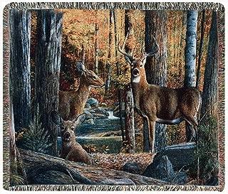 Throws - On High Alert Tapestry Throw - Deer Throw Blanket - Lodge - Wildlife