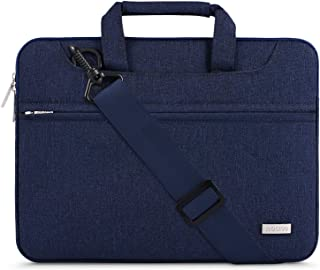 MOSISO Laptop Shoulder Bag Polyester Briefcase Handbag with Back Trolley Suitcase Belt Blue Navy Blue 13-13.3 Inch
