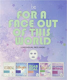 Beauty Concepts 5 Pack Face Mask, Face Sheet Masks Set Vitamin C, Collagen, Charcoal, Argan and Retinol Face Mask Kit and ...